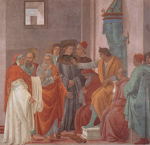 Fresco by Filippino Lippi (ca. 1481-1482, Florence) depicting the disputation between Simon Magus and the Apostles Peter and Paul before the Emperor Nero.