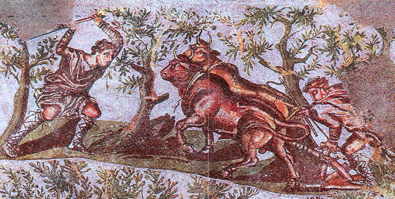 Upper register of a first or second-century C.E. Roman mosaic from Cherchel in Algeria depicting a man plowing with oxen.